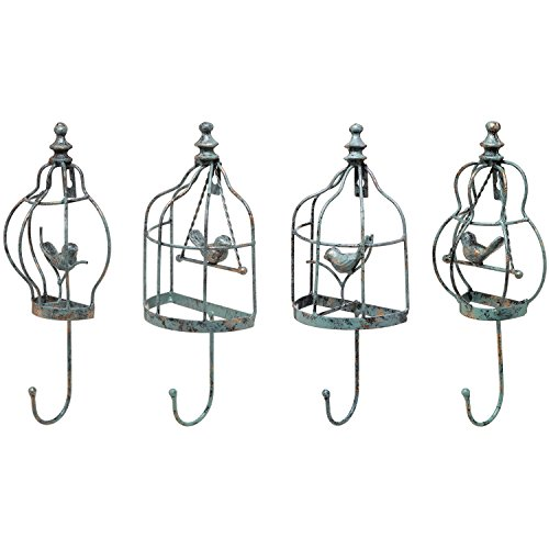 Set of 4 Turquoise Decorative Vintage Birdcage Designer Metal Wall Mounted Coat / Garment Hooks