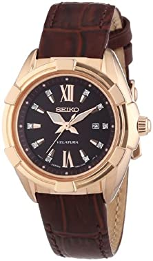 buy Seiko Women'S Velatura Sxdg12 Brown Leather Quartz Watch