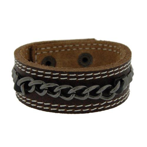 Genuine Leather Studs & Chains Chocolate Brown Vintage Biker Bracelet
