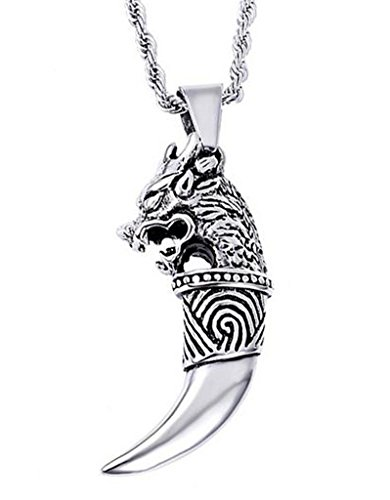 Epinki Men's Necklace, Stainless Steel Pendant Dragon Button Wolf Dental Type Pendant Silver (Resin Prime Dental compare prices)