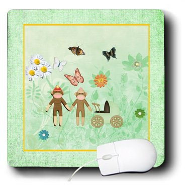 Mp_192571_1 Beverly Turner Baby Stuff Design - Monkey Couple With Baby Carriage In Beautiful Garden Of Flowers - Mouse Pads