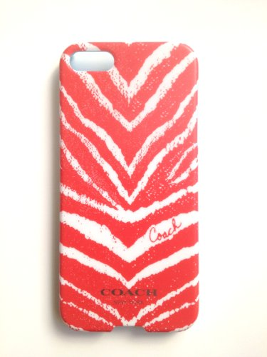 Best Price COACH Zebra Print iPhone 5 Case, Bright Coral