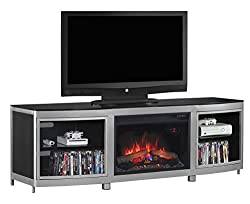 "ClassicFlame 26MM9313-D974 Gotham TV Stand for TVs up to 80"", Silver/Black (Electric Fireplace Insert sold separately) by ClassicFlame"