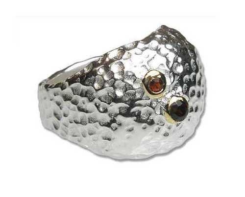 Silver Hammered Puffy Dome Statement Ring with Garnet