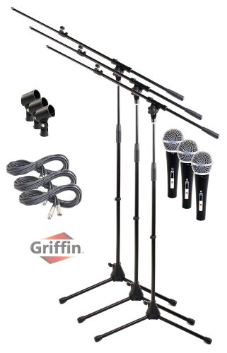 3 Pack Microphone Boom Arm Stand Holder Xlr Cable Cardioid Dynamic Mic Clip Griffin