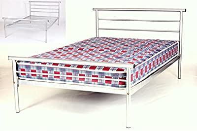 Hercules Contract Strengthened Alloy Metal Single Bed Frame | Silver