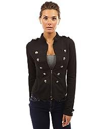 PattyBoutik Women\'s Zip Front Stand Collar Military Light Jacket (Black S)