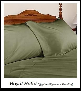 Royal Hotel's Solid Sage 1400-Thread-Count 4pc King Bed Sheet Set 100-Percent Egyptian Cotton, Sateen Solid, Deep Pocket