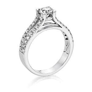 Certified, Round Cut, Solitaire Diamond Ring in 14K Gold / White (1 ct, G Color, VS2 Clarity)