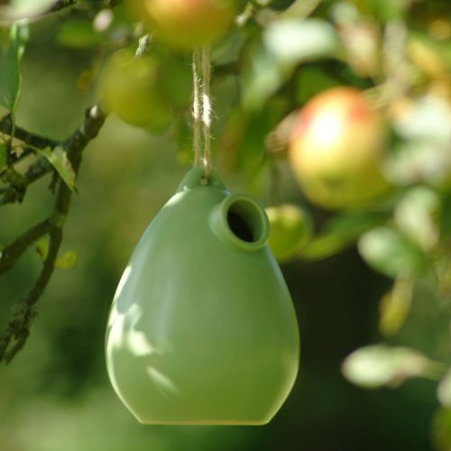 Apple Green Ceramic Bird House Nesting Box