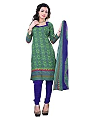 Surat Tex Green Color Casual Wear Printed Cotton Un-Stitched Dress Material-E448DL111SR