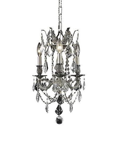Crystal Lighting Rosalia 3-Light Hanging Fixture, Pewter