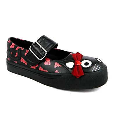 Tuk Womens Mary Jane Kitty Sneaker (8 UK, Black Red )