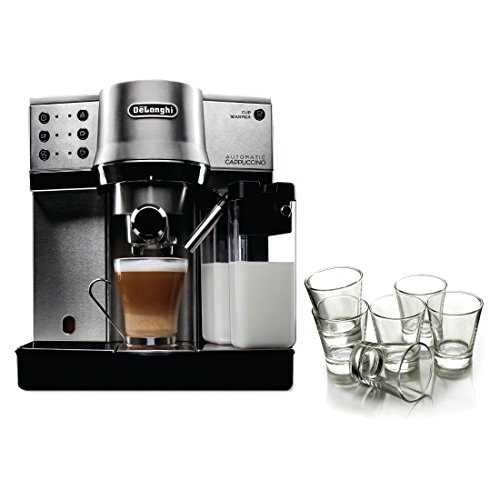 DeLonghi Brushed Stainless Steel Pump Espresso and Cappucino Maker with Free Set of 6 Italian Espresso Shot Glasses