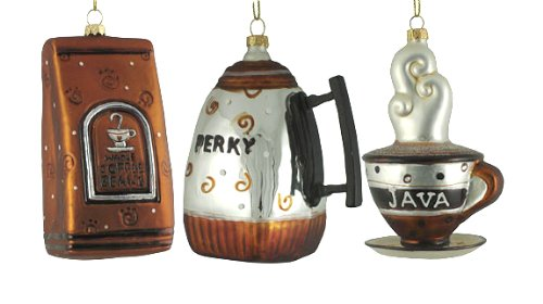 Set Of 3 Coffee Break Blown Glass Christmas Ornaments
