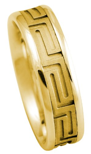 Gold Wedding Band, Greek Key Design, Gold Band, Women'S Men'S, Gold Wedding Ring, 14K. Yellow Gold Men'S And Women'S Wedding Band Ring Comfort Fit (12)
