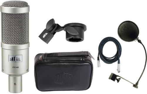 Heil Pr40 Microphone W/Carrying Bag, Microphone Clip, Windscreen, Xlr Cable, And Pop Filter