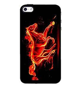 PrintDhaba Horse on Fire D-1189 Back Case Cover for APPLE IPHONE 5 (Multi-Coloured)