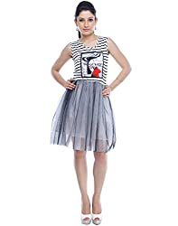 Designeez White Grey Girl Graphic Print Shift Dress