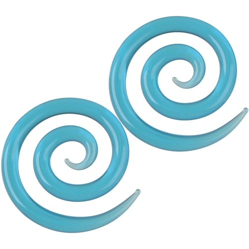 Pair of Glass Super Spirals: 2g Ocean