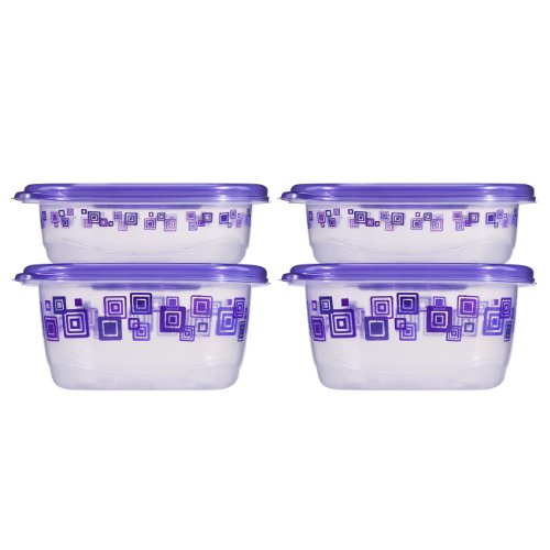 Glad Matchware Food Storage Containers Purple Square Variety Pack, 4 Ct