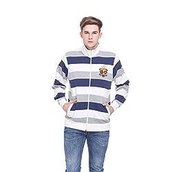 EX10SIVE Men's Blue and White Striped Sweatshirt