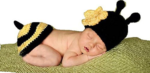 CX-Queen® Baby Newborn Bee Knit Crochet Clothes Beanie Hat Outfit Photo Props
