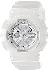 Casio Women's BA-110-7A2CR Baby-G Silver-Tone Analog-Digital Display and Translucent Resin Strap…