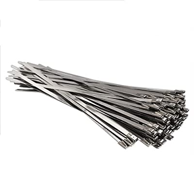 Vktech 100pcs Stainless Steel Exhaust Wrap Coated Locking Cable Zip Ties