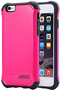 iPhone 6S Case / iPhone 6 Case, Arkko [Tough Shield] Slim fit Bumper Corner [Drop Protection] Soft Interior Scratch Resistant Perfect-Fit Shock Absorbing Hybrid Hard Armor Protection Rose Red 11i601rr