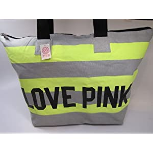 Victoria's Secret PINK LOVE PINK Zipper Weekender Canvas Beach Gym Tote Bag