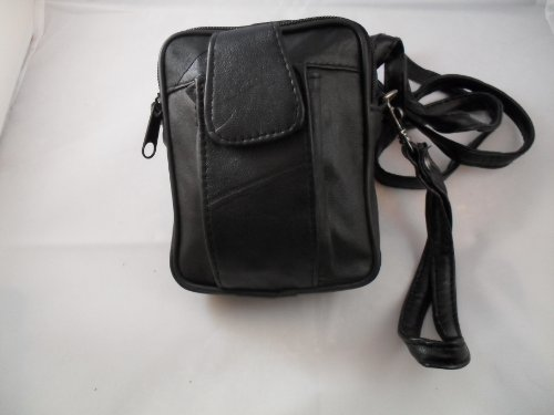 Unisex Black Leather Waist Bag or Pouch with Belt Loop and Shoulder Strap - Use as Travel Organiser Camera Bag
