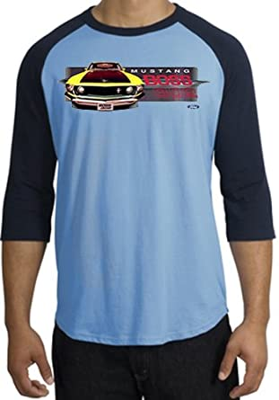 Ford YELLOW MUSTANG BOSS 302 FRONT PROFILE Classic Muscle Car Adult Raglan T-shirt Tee - Carolina Blue/Navy, Small