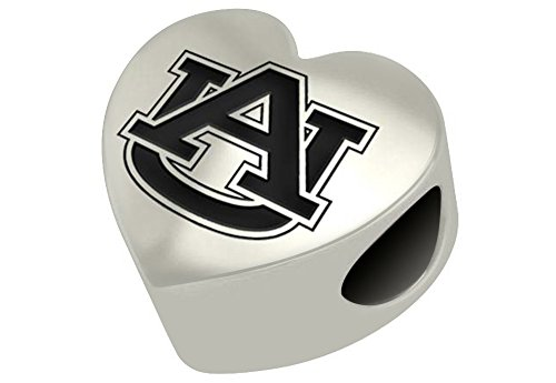 Auburn Tigers Sterling Silver Heart Bead Fits Most European Style Charm Bracelets