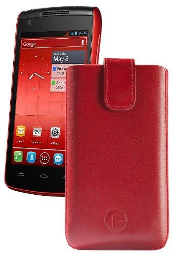 Original Favory Etui Tasche fuer / Alcatel One Touch 992D (Dual-Sim) / Leder Etui Handytasche Ledertasche Schutzhuelle Case Huelle *Speziell - Lasche mit Rueckzugfunktion* In Rot