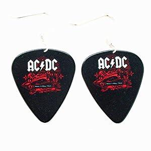 ACDC Plektrum Ohrringe AC DC Rock Musik Schmuck punk schwarzem Logo Konzertalbum