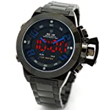 Alienwork DualTime Analogue-Digital LED Watch Chronograph Multi-function Stainless Steel black black
