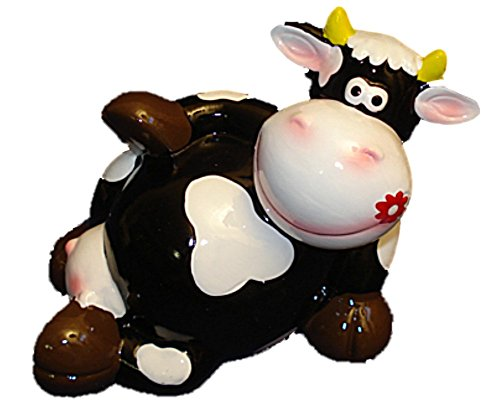 Black Cow Laying on Back Kids Piggy Bank Hand Painted