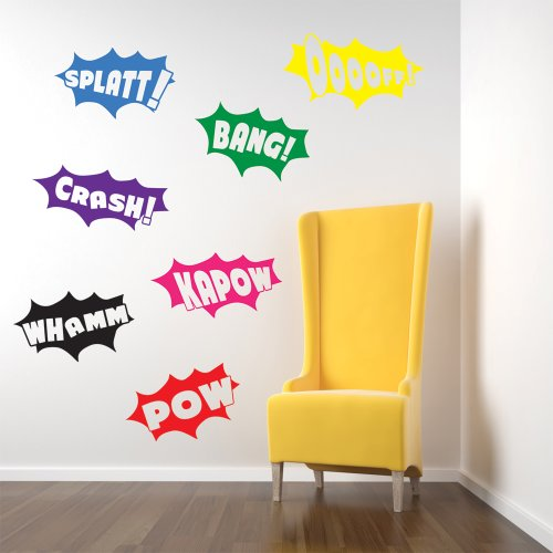 Vinyl Concept - Batman Wall Stickers, Decals, Pow, Bang, Crash, Splatt, Batman, Removable, Easy To Remove, Kids Wall Stickers, Art Mural, Art Decor, Sticker Diy Deco : Mixed As Pictured -- Small