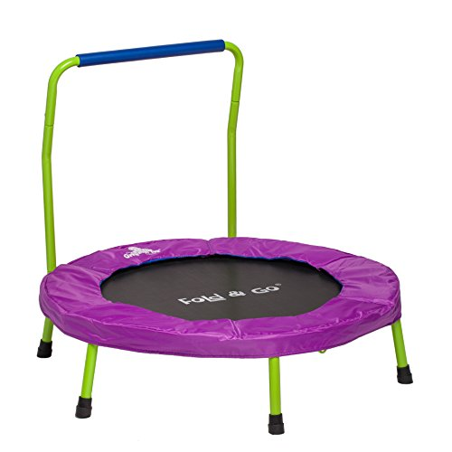 "Mini Trampoline for Kids and Toddlers - 36"" Trampoline with Handle in Exclusive Lime Green & Purple"