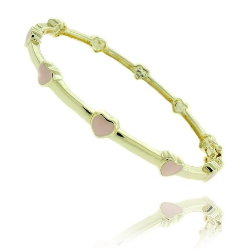Lily Nily 18k Gold Overlay Pink Enamel Heart Design Children's Bangle