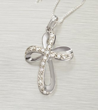Diamond Cross Sterling Silver Pendant - Webgift