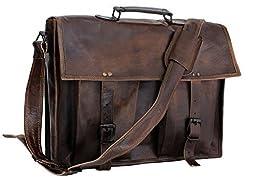 ArtandCraft Leather Laptop Crossover Messenger Bag, 16-Inch