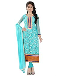 Lookslady Net Turquoise Women Clothing Semi Stitched Salwar Kameez Suit