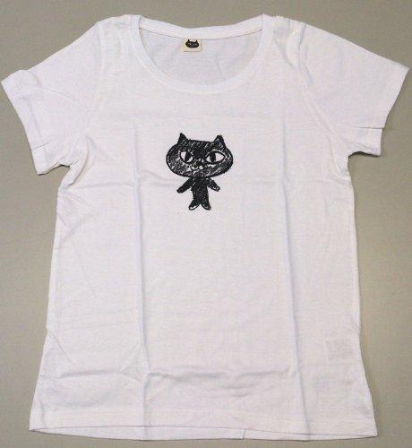 可愛いねこまんじゅうのTシャツ ラクガキネコ Mサイズ ホワイト