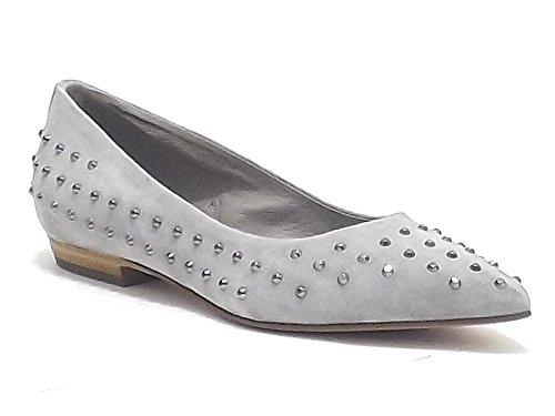 Vic scarpe donna, modello 9080, ballerina in nabuk con borchie, colore perla