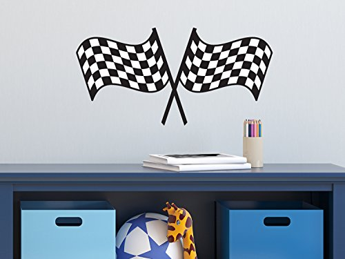 Sunny Decals Racing Checkered Flags Fabric Wall Decal - 1