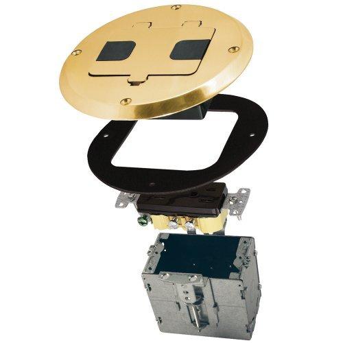 Raco 6239Bp Hubbell Raco 6239Bp Brass Plated Concealed Receptacle Floor Box Kit