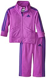 Adidas Baby Girls\' Iconic Tricot Jacket and Pant Set, Fast Purple, 12 Months