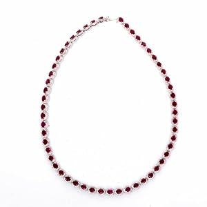 23.50 Cts Estate Riviera Diamond Ruby 18k Gold Necklace Signed